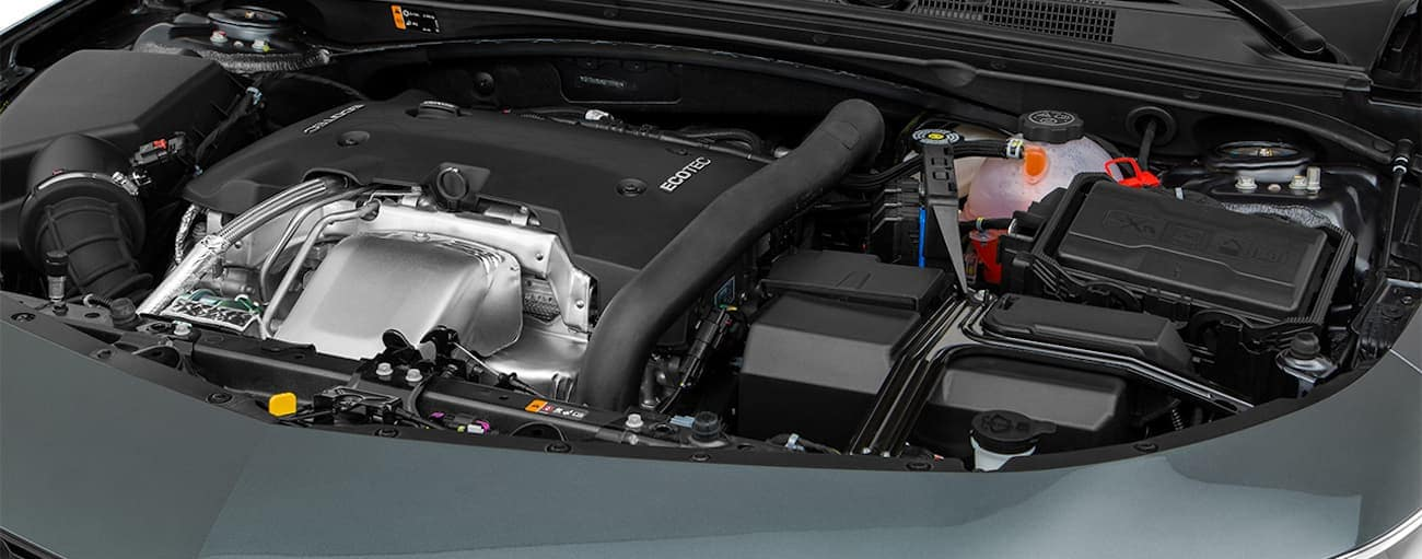 The engine bay of a 2017 Chevy Malibu is shown.