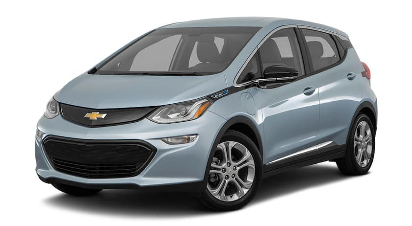 A greyish-blue 2017 Chevy Bolt is facing left.