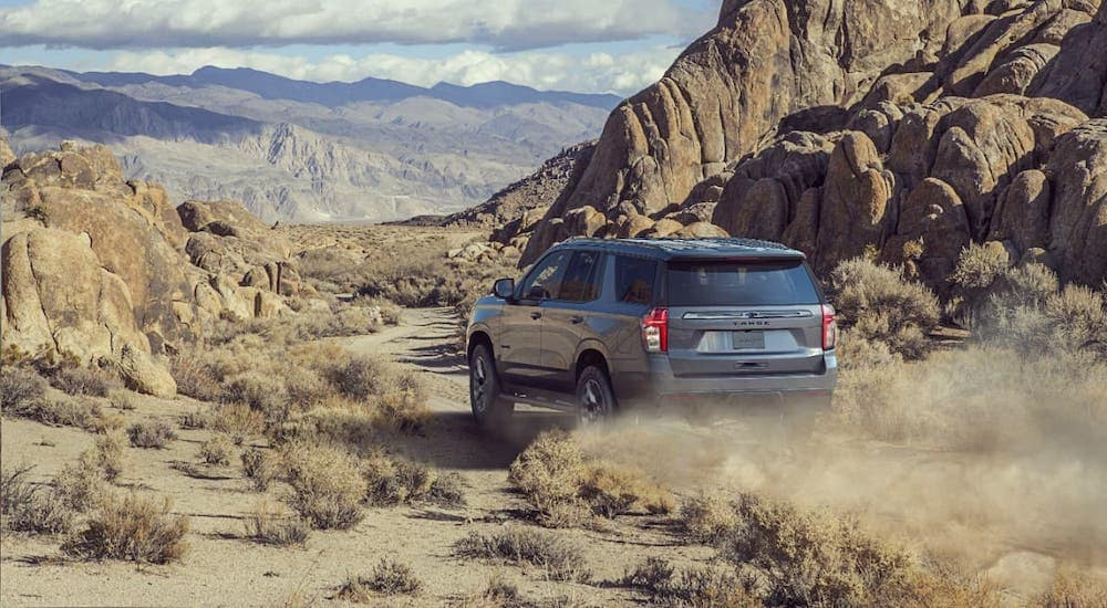 A silver 2021 Chevy Tahoe Z71 is driving into the desert, shown from the rear.