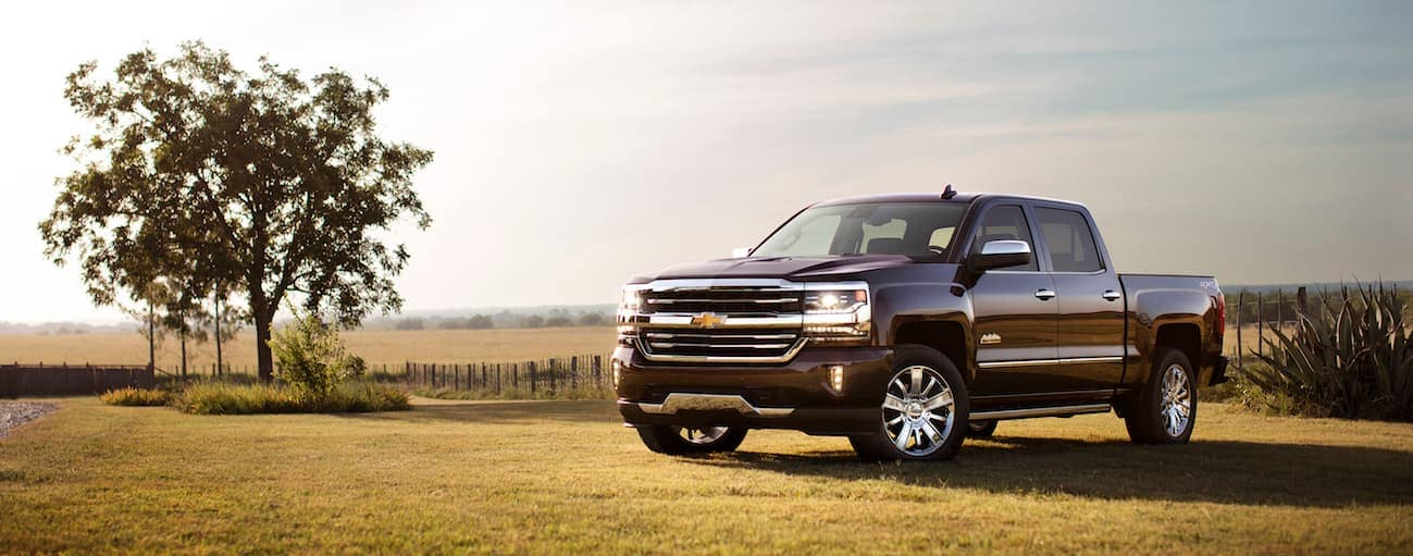 A black 2017 Chevy Silverado, which wins when comparing the 2017 Chevy Silverado vs 2017 Toyota Tundra, is parked in a field near Cincinnati, OH.