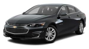 A black 2018 Chevy Malibu is parked and facing left.