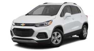 A white 2018 Chevy Trax is parked and is facing left.