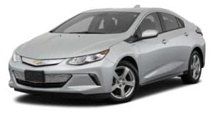 A grey 2018 Chevy Volt is parked and facing left.