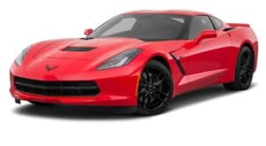 A red 2018 Chevy Corvette is parked and facing left.