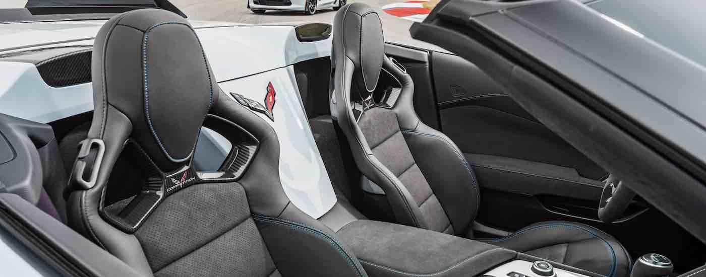 A birds eye view of the grey leather interior of the 2018 Chevy Corvette.