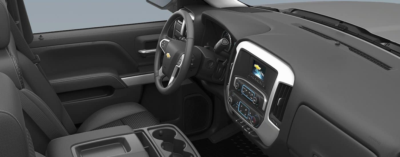 An interior look at the the black trim of the 2018 Chevy Silverado 3500HD.