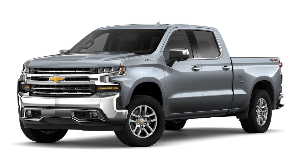 Silver 2019 Chevrolet Silverado 1500 at an angle