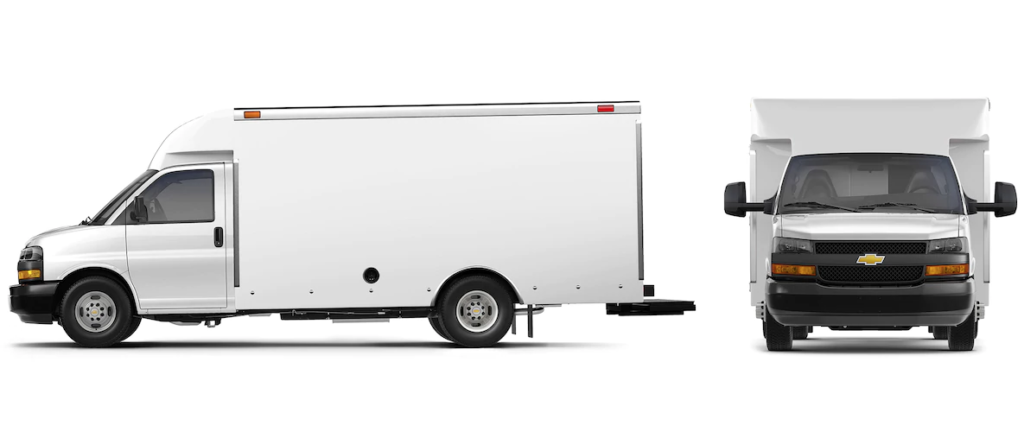 A front and profile view of a white Chevy Box Truck