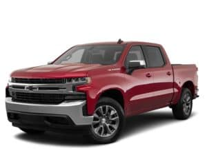 A red 2019 Chevy Silverado is parked and facing left.