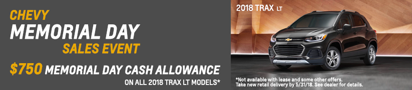 Trax Memorial Day sale at McCluskey Chevrolet