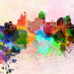 a watercolor painting of the Cincinnati Skyline