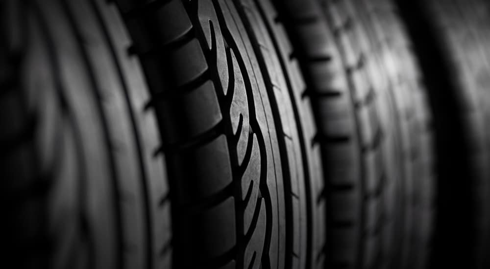 A close up of multiple tires is shown.