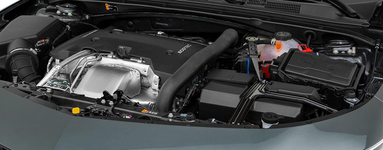 The engine bay of a 2018 Chevy Malibu is shown.