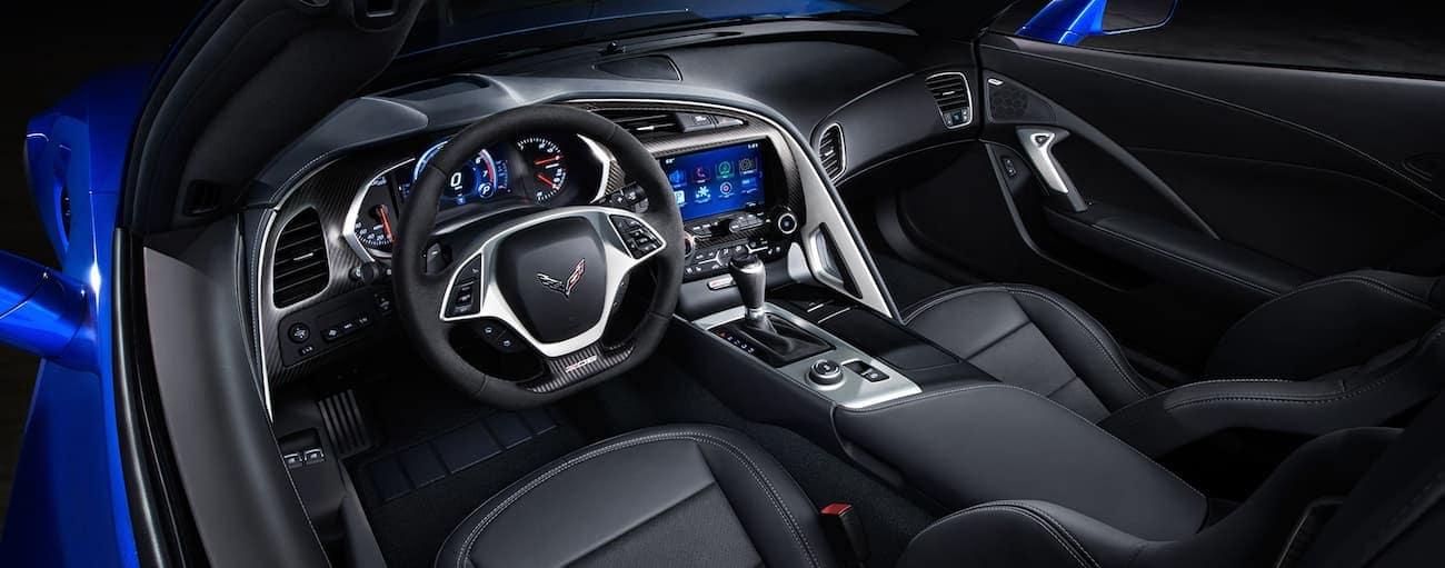 Black leather interior of 2019 Chevy Corvette z06