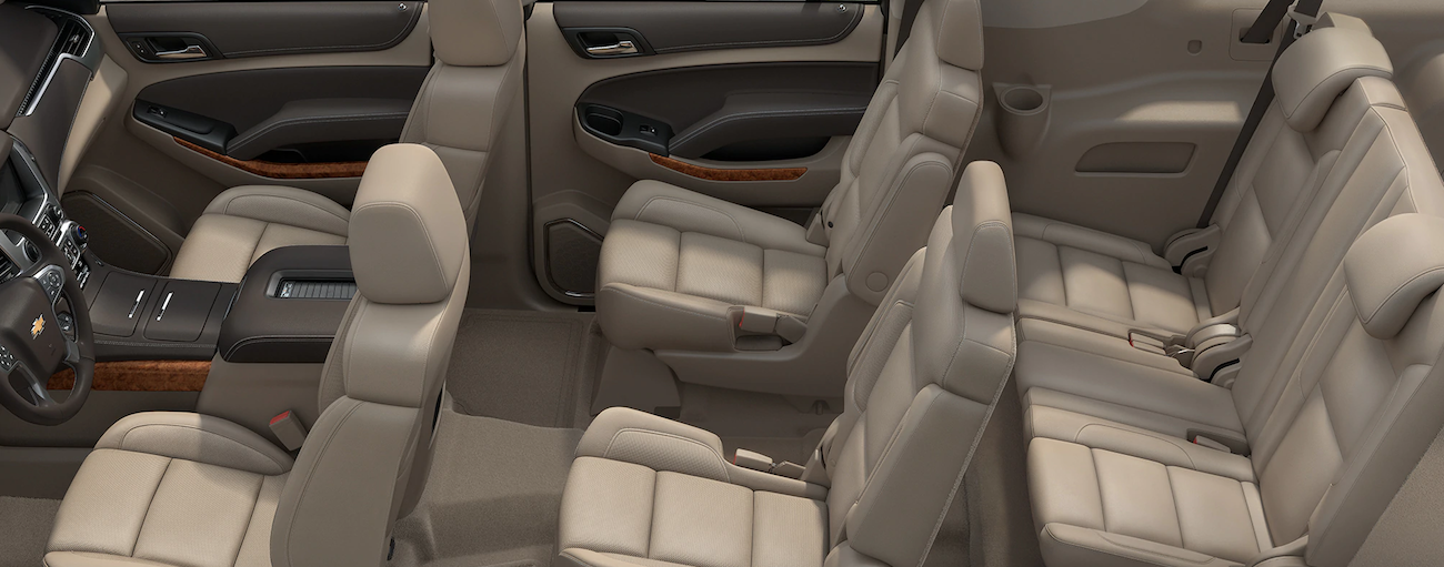 Beige leather seats in 2019 Chevy Suburban