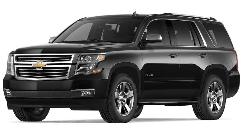 Black 2019 Chevy Tahoe on white