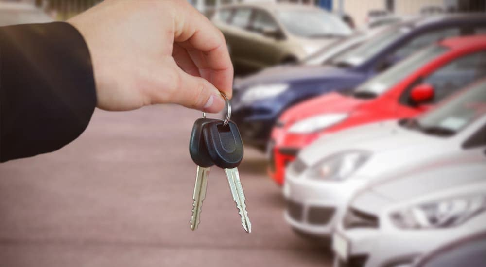 Hand holding car keys in front of row of cars
