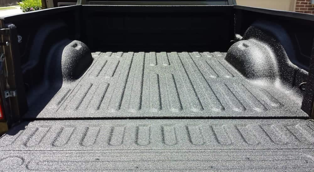 A truck bed after getting a brand new spray in truck bed liner