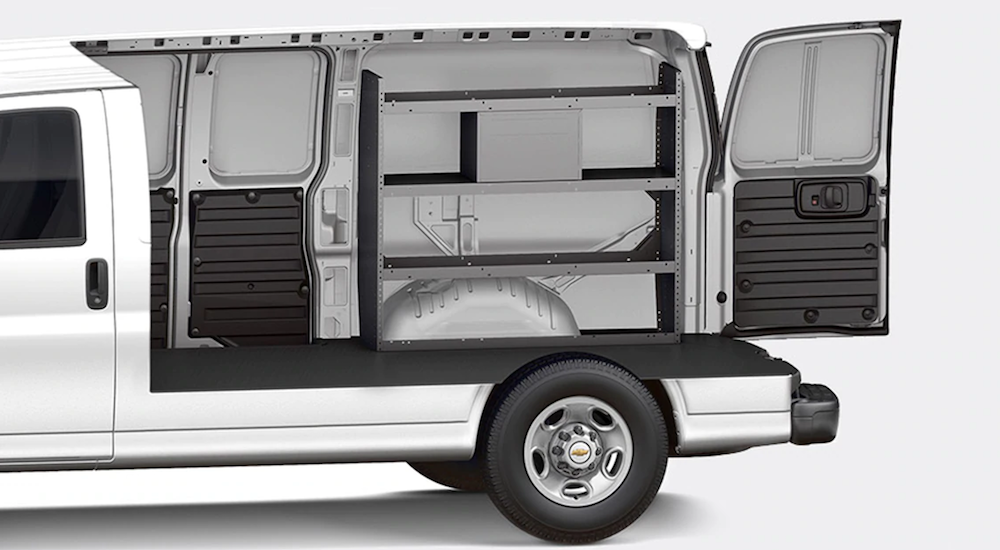 A white cutaway demo of the current Chevy Vans for sale in 2019