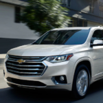 A pearl white 2019 Chevy Traverse on a quiet Ohio test drive