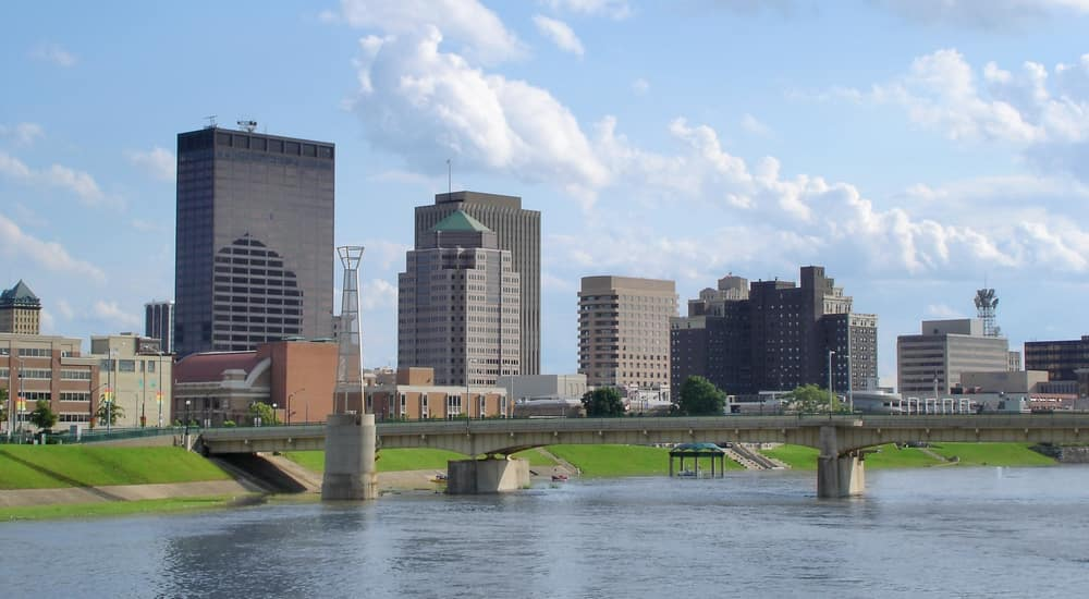 The Dayton, Ohio skyline during the day.