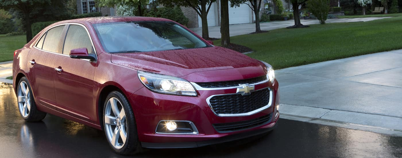 A used red 2015 Chevy Malibu from a Chevy dealer near Dayton Ohio