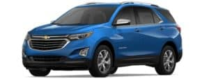 A blue 2019 Chevy Equinox facing left on white
