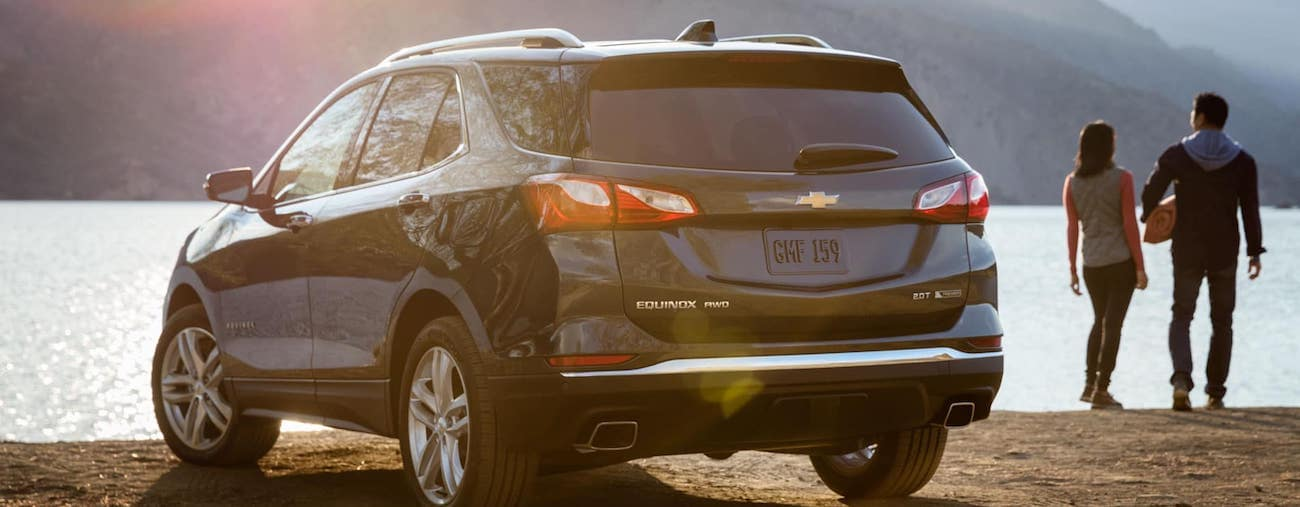 A young couple visit a local Ohio lake with their new 2019 Chevy Equinox