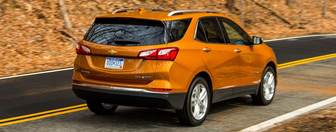 An orange 2019 Chevy Equinox driving up a woodland hill