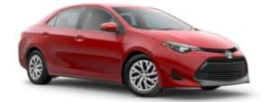A red 2019 Toyota Corolla facing right