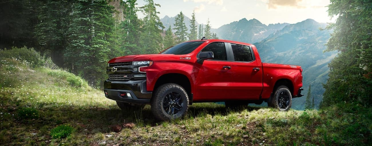 A red 2019 Chevy Silverado with black trim is cresting a hill on a trail. Check out performance when comparing the 2019 Chevy Silverado vs 2019 Ford F-150 in Cincinnati, OH.
