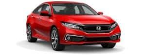 A red 2019 Honda Civic facing right