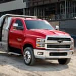 A red 2019 Chevy Silverado HD with dump body is at a construction site, and you can find other dump trucks for sale in Cincinnati, OH.