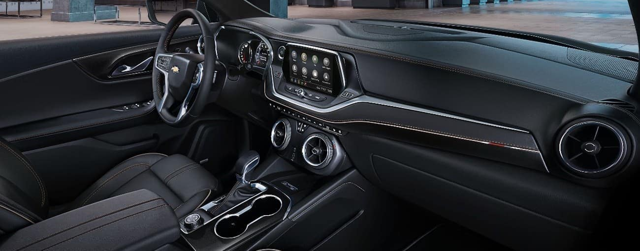 The black interior of the 2019 Chevy Blazer is shown. Check out the entertainment features when comparing the 2019 Chevy Blazer vs 2019 Ford Edge.