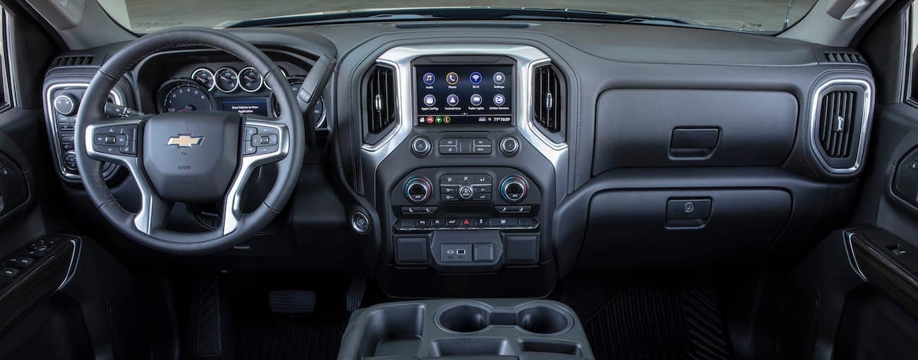 The black interior of a 2019 Chevy Silverado is shown.