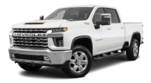 A white 2020 Chevy Silverado 2500HD is facing left.