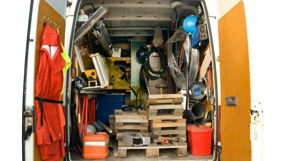 This is the inside of a work cargo van with tools in it near Cincinnati, OH.