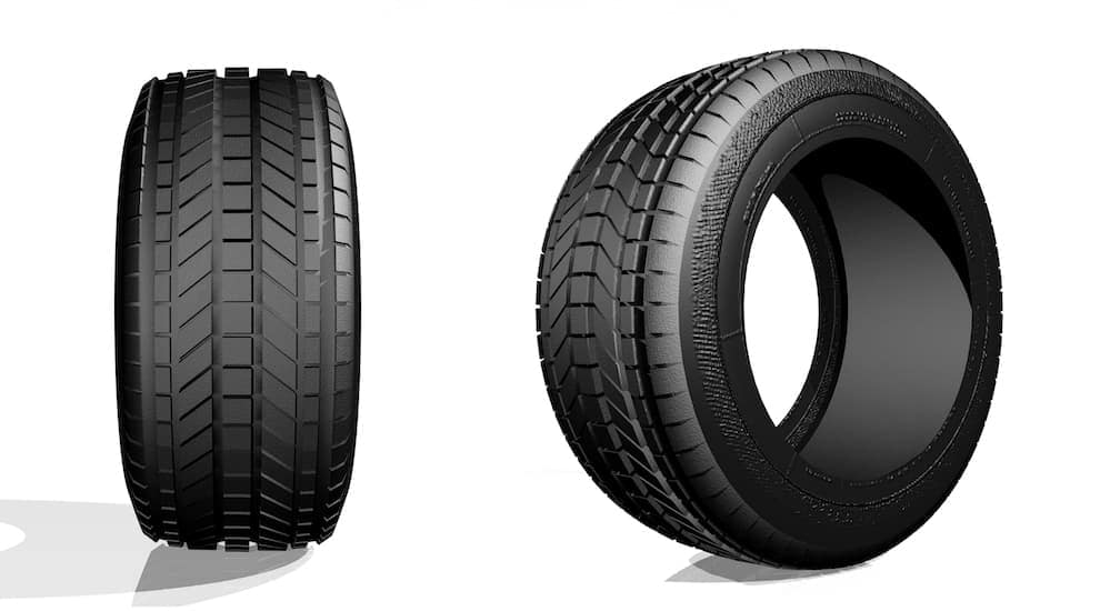 Two tires, one is moved so you can see it without a rim, and the other is of the tire tread.