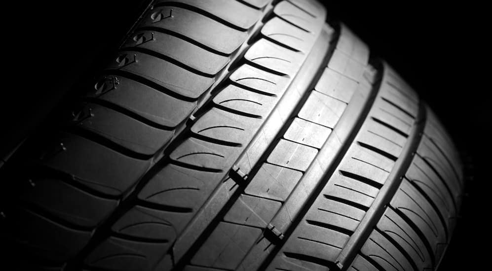 This is a close up of a high performance tire tread.