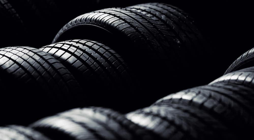 This is a row of tires that are similar to discounted tires in Cincinnati, OH.