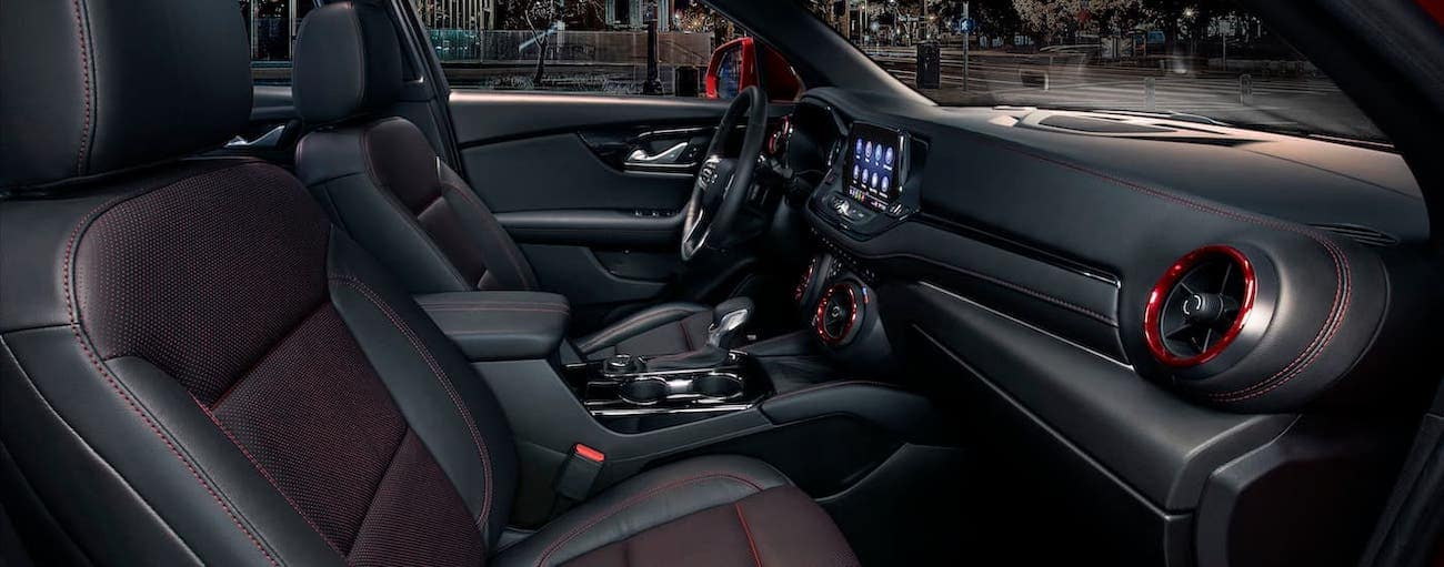 The black and red interior of a 2019 Chevy Blazer is shown.