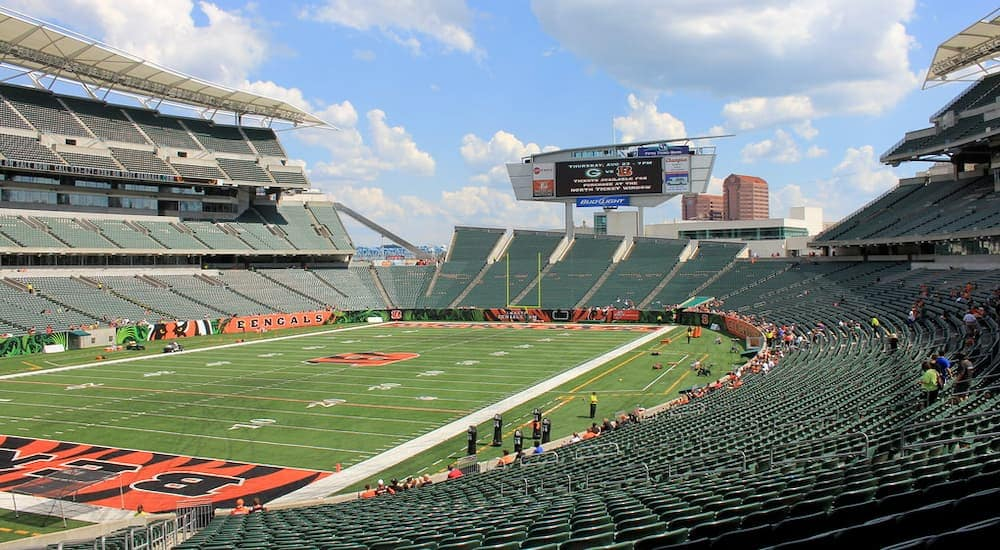 Catch at game at the Paul Brown Stadium after getting a car service near you in Cincinnati, OH.