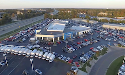 An aerial view of the McCluskey Chevy dealership is shown.