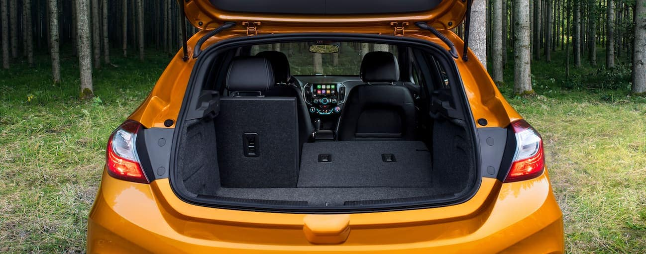The inside of a 2017 Chevy Cruze hatchback model is shown with black interior.