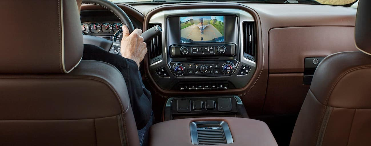 The brown leather of a 2017 Chevy Silverado 1500 is shown.