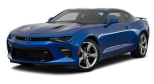 A blue 2017 Chevy Camaro is parked and facing left.