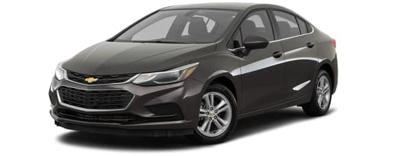 A black 2017 Chevy Cruze is facing left.