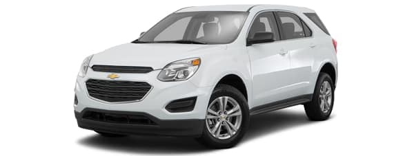 A white 2017 Chevy Equinox is facing left.