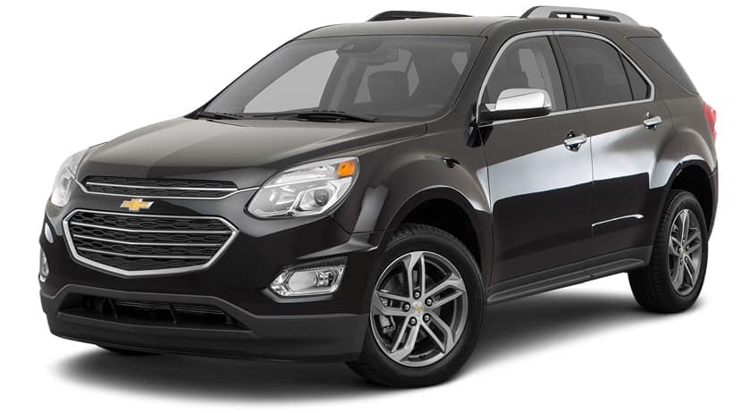 A black 2017 Chevy Equinox is parked and facing left.