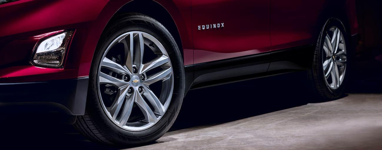 A close up of the 2018 Chevy Equinox wheels on a high trim level option.